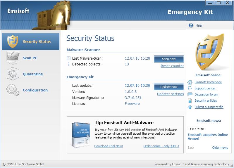 Emsisoft Emergency Kit, herramienta gratuita de rescate contra de virus
